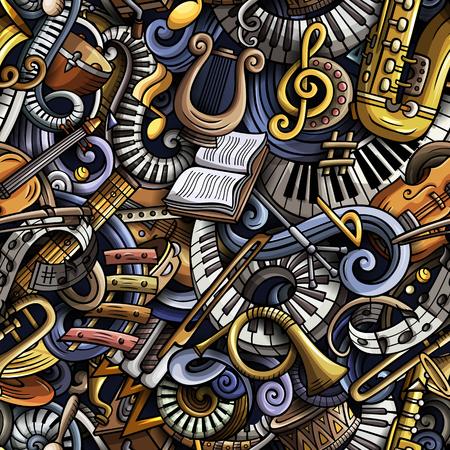 Cartoon cute doodles classical music seamless pattern.