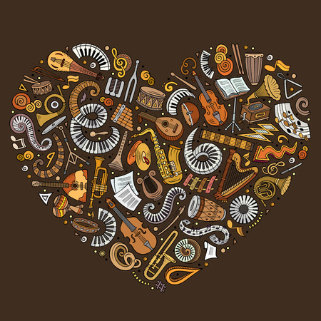 Set of vector cartoon doodle classic musical instruments and objects collected in a heart.