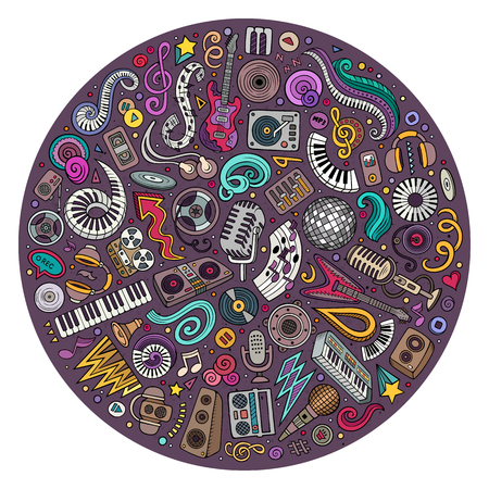 Set of vector cartoon doodle musical objects collected in a circle. Disco music subjects