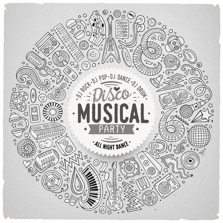 Set of vector cartoon doodle musical objects collected in a round border. Illustration