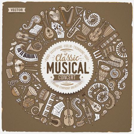 Classic musical instruments Illustration