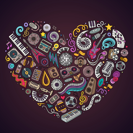 Set of vector cartoon doodle musical objects collected in a heart.