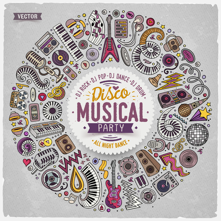 Set of vector cartoon doodle musical objects collected in a round border. Ilustrace
