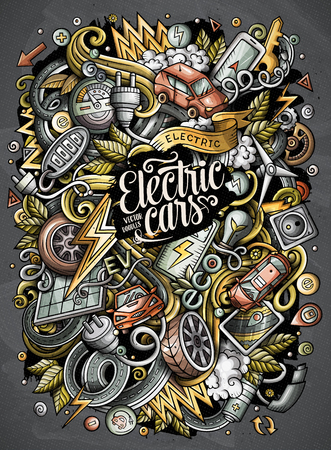 Cartoon vector doodles electric cars illustration. Illusztráció