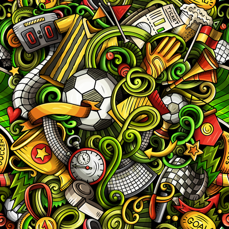 Cartoon doodles football seamless pattern.