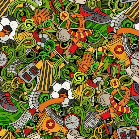 Cartoon doodles football seamless pattern.