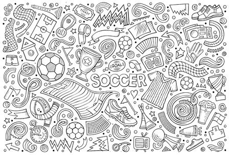 Doodles vector cartoon set of football objects.