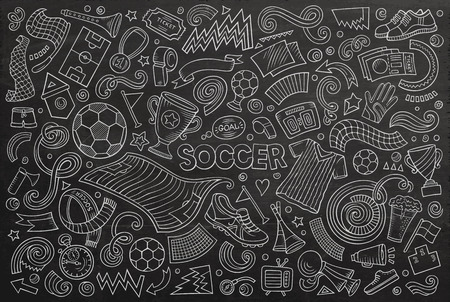 Kreskówka zestaw obiektów piłkarskich Ilustracje wektorowe