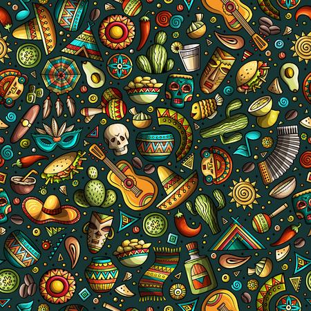 Dibujos animados dibujados a mano latinoamericano, mexicano de patrones sin fisuras.
