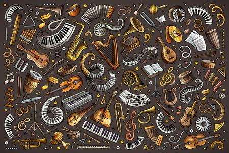 Bunte Vektor Kritzeleien Cartoon-Set von klassischen Musikinstrumenten Objekte Standard-Bild - 95463259