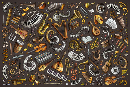 Colorful vector doodles cartoon set of classical musical instruments objects.