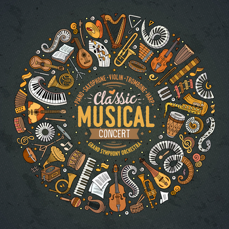 Set of vector cartoon doodle classic musical instruments and objects collected in a circle border.
