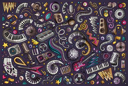 Dibujado a mano colorido vector doodles conjunto de dibujos animados de objetos y elementos de música disco