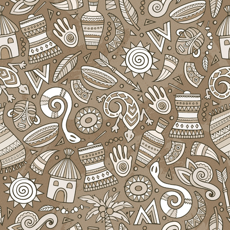 Cartoon cute hand drawn African seamless pattern.