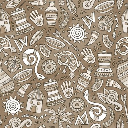 Cartoon cute hand drawn African seamless pattern.
