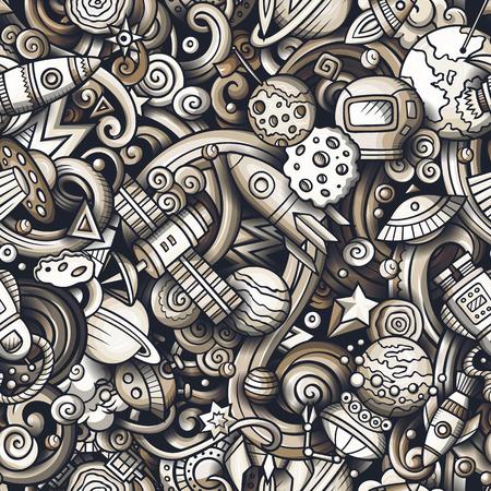 Cartoon cute doodles space seamless pattern.