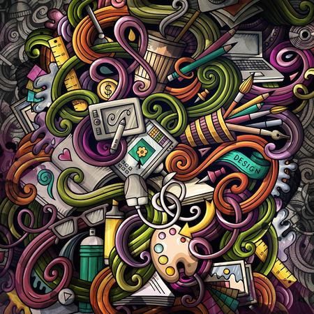 Doodles graphic design illustration. Creative art background Stock Photo