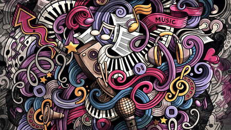Doodles Music illustration. Creative musical background Stockfoto