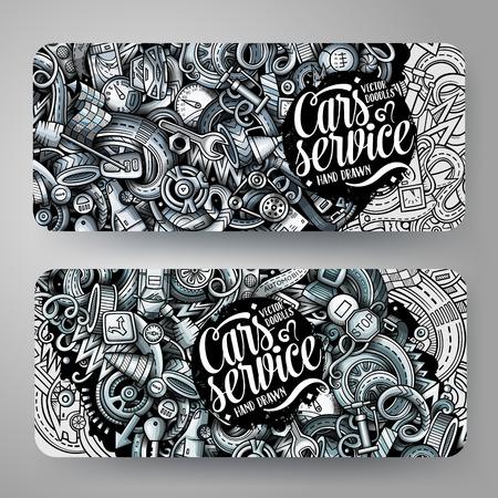 Cartoon graphics vector hand drawn doodles automotive banners