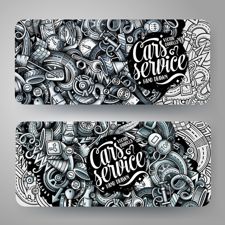 Cartoon graphics vector hand drawn doodles automotive banners