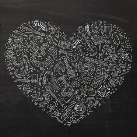 Set of vector cartoon doodle classic musical instruments and objects collected in a heart. Classical music subjects Standard-Bild - 95401745