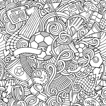 Cartoon doodles Football seamless pattern