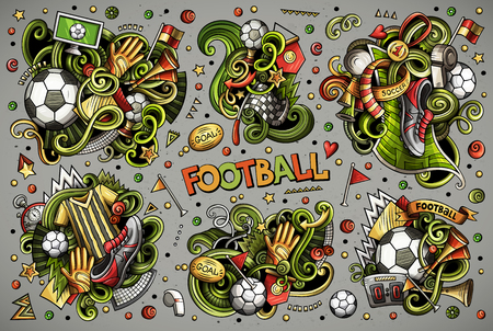 Vector doodles cartoon set of football combinations of objects