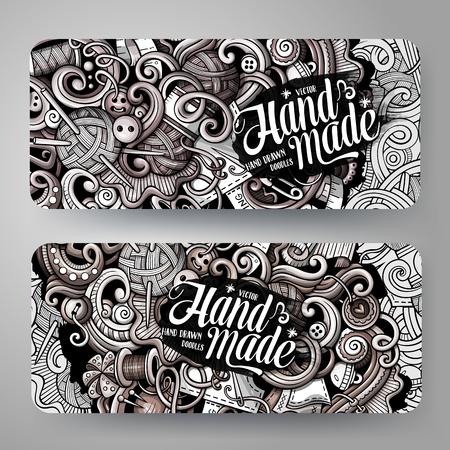 Cartoon graphics vector hand drawn doodles hand made corporate identity Ilustração