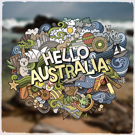 Hello Australia hand lettering and doodles elements and symbols emblem