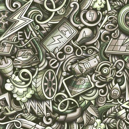 Cartoon cute doodles hand drawn Electric vehicle seamless pattern