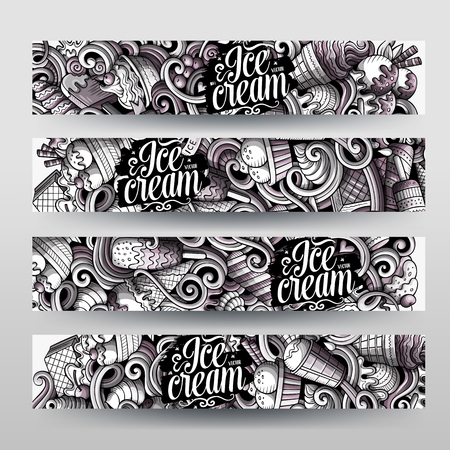 Cartoon graphics vector hand drawn doodles ice cream horizontal banners