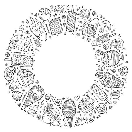 アイスクリーム漫画の落書きオブジェクト、シンボルやアイテムのセット