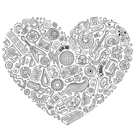 Set of vector cartoon doodle musical objects collected in a heart Illustration
