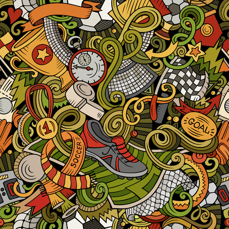 Cartoon doodles Football icons such as shoes and goal in seamless pattern Illustration