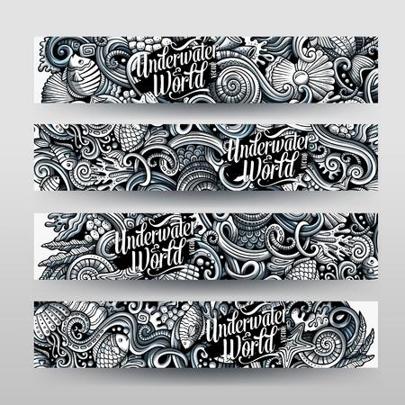 Cartoon graphics vector hand drawn doodles sealife horizontal banners Illustration