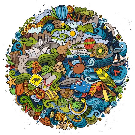 Australian doodles elements and symbols round illustration Illustration