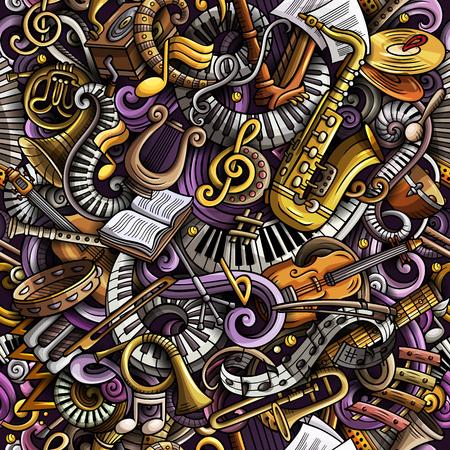 Cartoon cute doodles Classical music seamless pattern Stock Illustratie