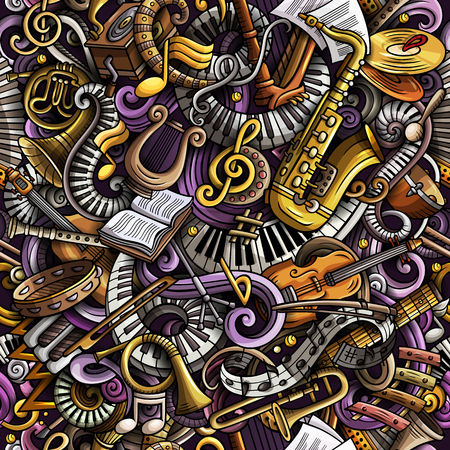 Garabatos lindos dibujos animados de patrones sin fisuras de música clásica