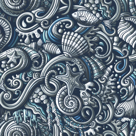 Cartoon doodles under water life seamless pattern.