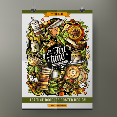 Tea poster template. Very detailed, with lots of objects illustration.