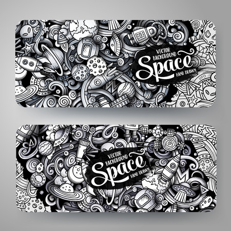 Cartoon graphics vector hand drawn doodles space horizontal banners.