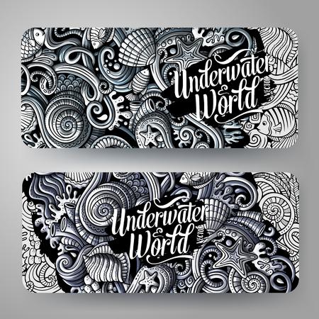Cartoon graphics vector hand drawn doodles sea life horizontal banners. Stock Vector - 95854016