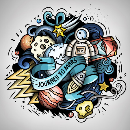Cartoon vector doodles space trendy illustration. Illustration