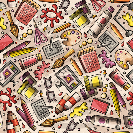 Cartoon cute hand drawn of design and art seamless pattern.