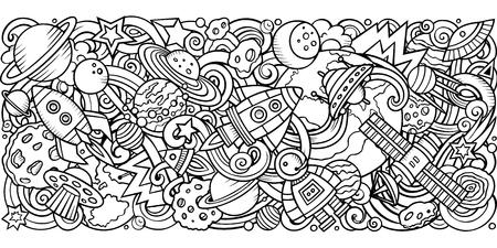Cartoon vector doodles Cosmic horizontal stripe illustration