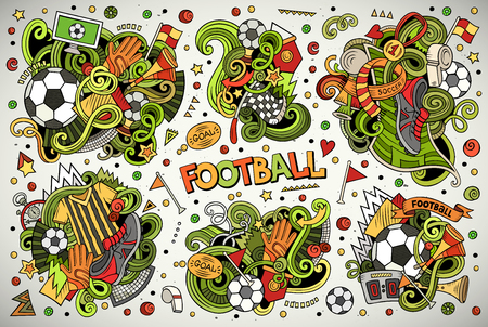 Set of vector doodles cartoon of football combinations of objects.