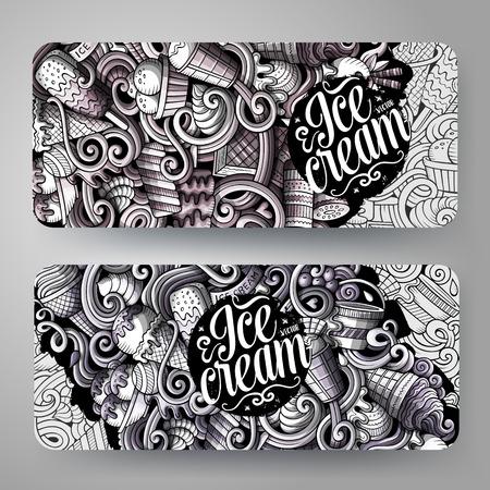 Cartoon graphics ice cream banners