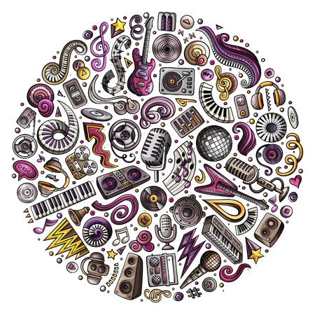 Set of vector cartoon doodle musical objects collected in a circle.