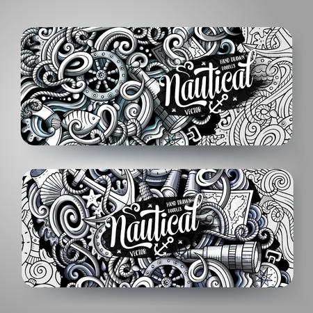 Cartoon graphics vector hand drawn doodles nautical horizontal banners.