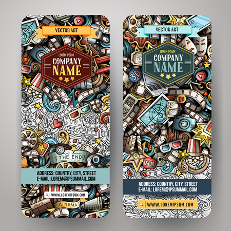 Cartoon cute colorful vector hand drawn doodles Cinema corporate identity. 2 vertical banners design. Templates set. All objects separate